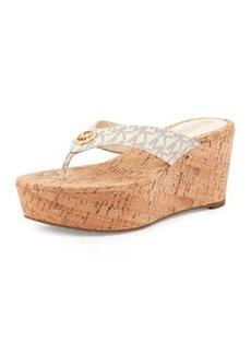 MICHAEL Michael Kors Natalia MK Signature Wedge Sandal, Vanilla