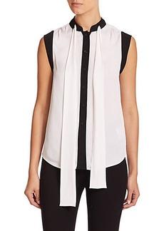 MICHAEL MICHAEL KORS Necktie Contrast Silk Blouse