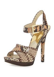 MICHAEL Michael Kors Odessa Snake-Embossed Sandal, Peanut