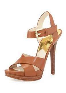MICHAEL Michael Kors Oksana Leather Sandal, Luggage