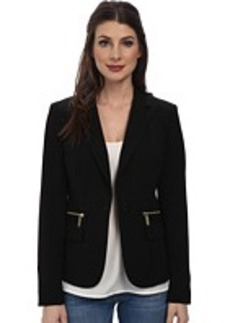 MICHAEL Michael Kors One Button Zipper Blazer