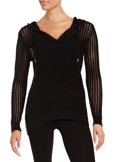 MICHAEL MICHAEL KORS Open Knit Hooded Sweater
