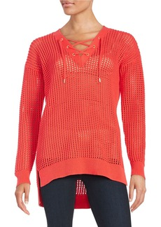 MICHAEL MICHAEL KORS Open-Knit Lace-Up Pullover