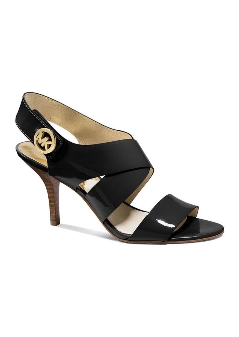 michael michael kors michael michael kors open toe sandals joselle logo high heel shoes. Black Bedroom Furniture Sets. Home Design Ideas