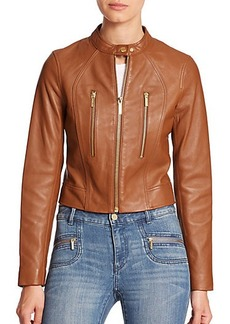 MICHAEL MICHAEL KORS Paneled Leather Jacket