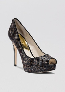 MICHAEL Michael Kors Peep Toe Platform Evening Pumps - York Glitter High Heel