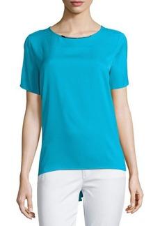 MICHAEL Michael Kors Peplum-Back Short-Sleeve Blouse