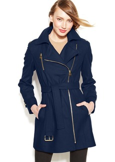 MICHAEL Michael Kors Petite Asymmetrical Belted Walker Coat
