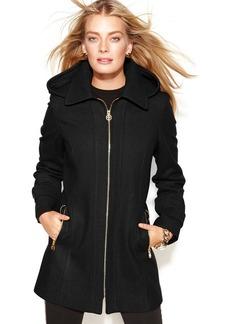 MICHAEL Michael Kors Petite Hooded Zip-Front Wool-Blend Coat