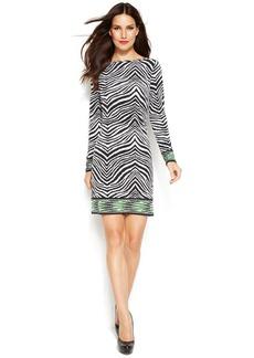 MICHAEL Michael Kors Petite Long-Sleeve Animal-Print Shift Dress