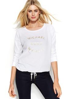 MICHAEL Michael Kors Petite Metallic Logo Drawstring Sweatshirt