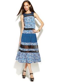 MICHAEL Michael Kors Petite Mixed-Print Illusion Lace Dress