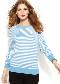 MICHAEL Michael Kors Petite Raglan-Sleeve Striped Sweater