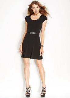 MICHAEL Michael Kors Petite Short-Sleeve Belted Fit & Flare Dress