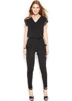 MICHAEL Michael Kors Petite Slim-Leg Studded Jumpsuit