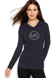 MICHAEL Michael Kors Petite Waffle-Knit Hooded Logo Tee