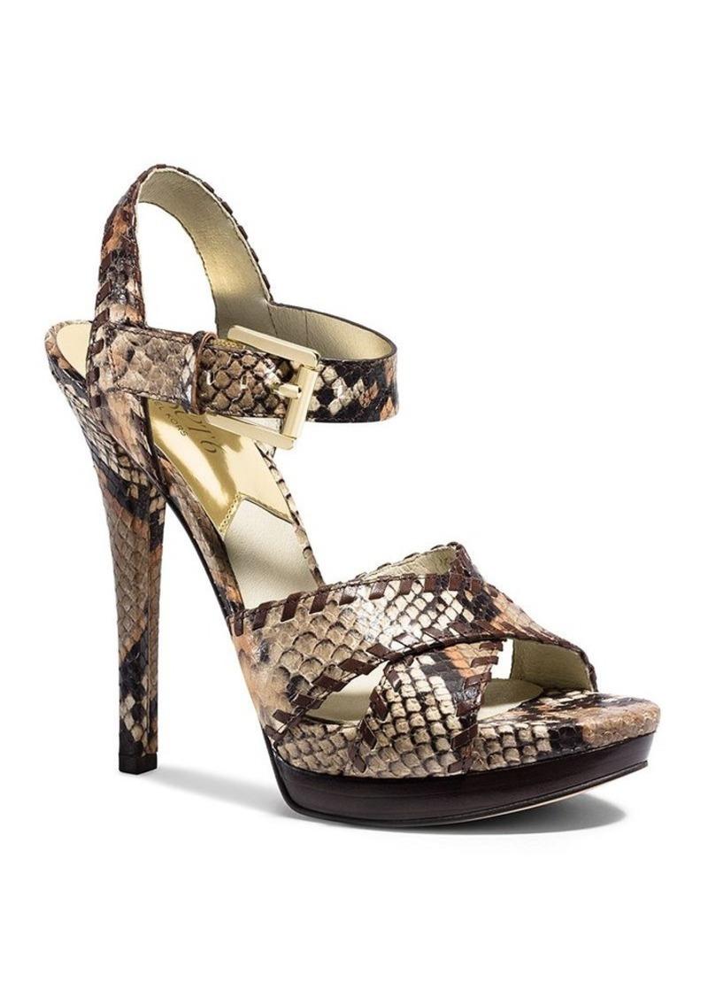 michael michael kors michael michael kors platform sandals odessa snake embossed high heel. Black Bedroom Furniture Sets. Home Design Ideas