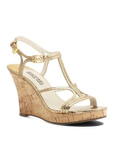 MICHAEL Michael Kors Platform Wedge Sandals - Cicely Metallic