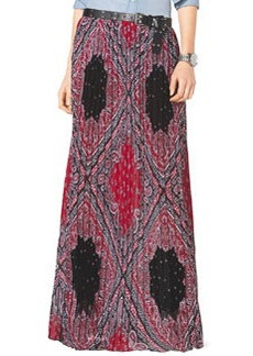 MICHAEL Michael Kors Pleated Bandana-Print Maxi Skirt