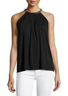 MICHAEL Michael Kors Pleated Chain-Neck Tank