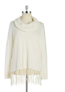 MICHAEL MICHAEL KORS PLUS Plus Cowlneck Fringe Sweater