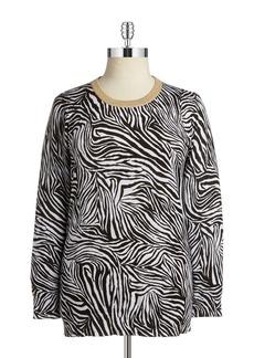 MICHAEL MICHAEL KORS PLUS Plus Zebra Patterned Knit Sweater