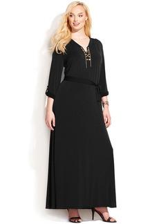 MICHAEL Michael Kors Plus Size Chain Lace-Up Maxi Dress