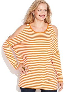 MICHAEL Michael Kors Plus Size Cold-Shoulder Striped Top