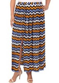 MICHAEL Michael Kors Plus Size Ikat Pleated Maxi Skirt w/ Slit