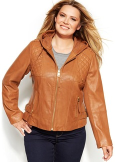 MICHAEL Michael Kors Plus Size Knit-Inset Hooded Leather Jacket
