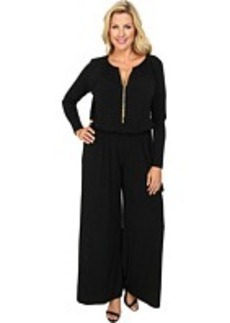 MICHAEL Michael Kors Plus Size Long Sleeve Chain Neck Wideleg Jumpsuit