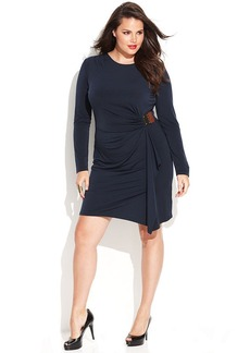 MICHAEL Michael Kors Plus Size Long-Sleeve Faux-Wrap Dress