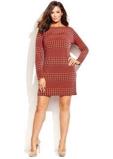 MICHAEL Michael Kors Plus Size Long-Sleeve Multi-Print Shift Dress