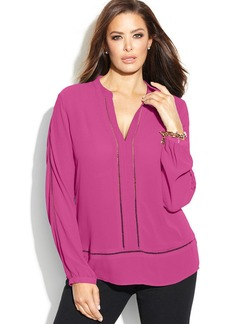 MICHAEL Michael Kors Plus Size Long-Sleeve Open-Stitch Blouse
