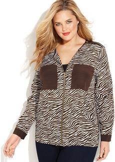 MICHAEL Michael Kors Plus Size Long-Sleeve Printed Zip-Front Shirt