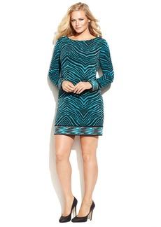 MICHAEL Michael Kors Plus Size Long-Sleeve Zebra-Print Shift Dress