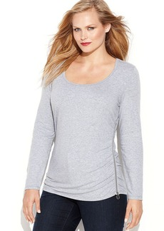 MICHAEL Michael Kors Plus Size Long-Sleeve Zipper-Trim Top