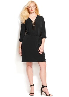 MICHAEL Michael Kors Plus Size Roll-Tab-Sleeve Chain Lace-Up Dress
