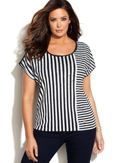 MICHAEL Michael Kors Plus Size Sequined Striped Tee