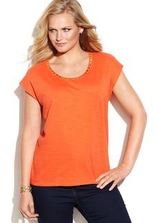 MICHAEL Michael Kors Plus Size Short-Sleeve Studded Top