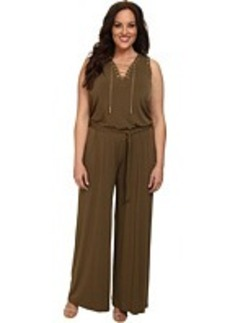 MICHAEL Michael Kors Plus Size Sleeve Less Lace Up Jumpsuit