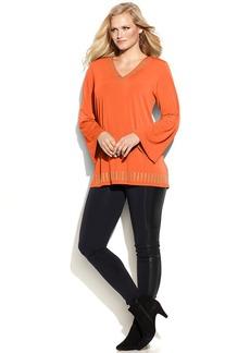 MICHAEL Michael Kors Plus Size Studded V-Neck Tunic