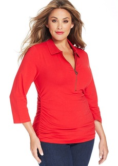 MICHAEL Michael Kors Plus Size Three-Quarter-Sleeve Half-Zip Polo Shirt
