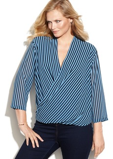 MICHAEL Michael Kors Plus Size Three-Quarter-Sleeve Striped Surplice-Neck Top