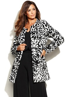 MICHAEL Michael Kors Plus Size Zebra-Print Faux-Fur Jacket