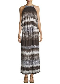 MICHAEL Michael Kors Printed Braided-Neck Maxi Dress