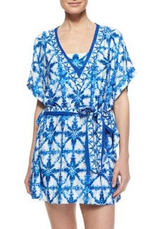 MICHAEL Michael Kors Printed Tie-Waist Jersey Coverup