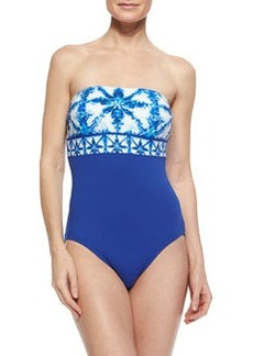 MICHAEL Michael Kors Printed/Solid Strapless One-Piece