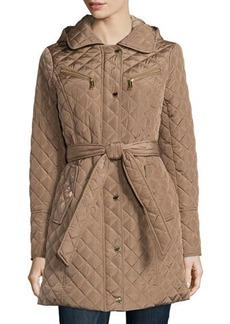 MICHAEL Michael Kors Quilted Belted Hooded Trenchcoat