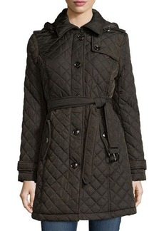 MICHAEL Michael Kors Quilted Button-Front Belted Hooded Coat